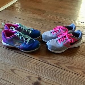 2 pairs girls size 3 sneakers